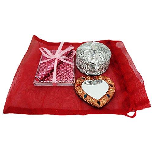 indiano del regalo in rilievo handmade materiale specchio antico casa tavolo decorazione top box di monili decorativi stile vintage gingillo diario con la penna 1 regalo di natale