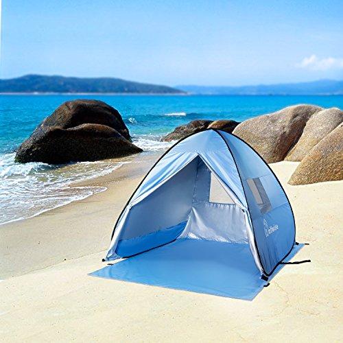 WolfWise UV Schutz Strandmuschel, Pop-Up Familien Sonnenschutz Strandzelt, Selbstaufbauend Automatisch Strand Sonnenschirm Regenschirm, Tragbar Blau (Blau)