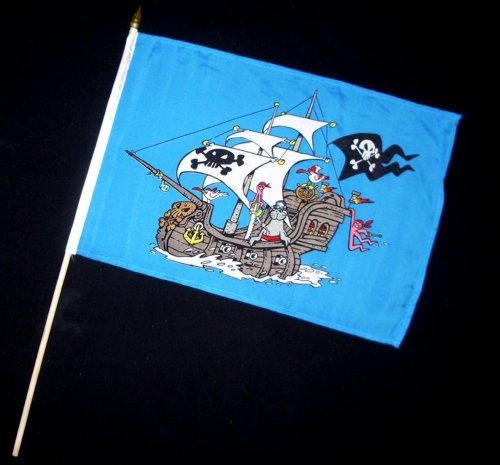 Stock-Flagge 30 x 45 : Piratenschiff blau