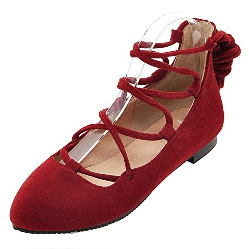 Hohl Zehen Rot Knöchelriemchen Tanzschuhe Damenschuhe Coolcept Classic Geschlossene Spitze Ballerinas HzwBwIxE