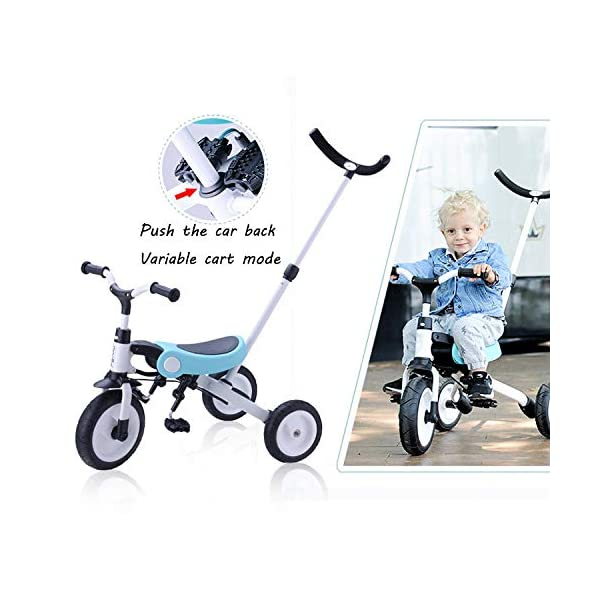 BGHKFF Versatile Childrens Folding Tricycle 18 Months To 5 Years Kids Tricycle Detachable And Adjustable Push Handle Non-slip Handles Anti-slip Pedals Childrens Tricycles Maximum Weight 25 Kg,Blue BGHKFF ★Material: Aluminum alloy, suitable for children from 18 months to 5 years old, maximum load: 25 kg ★Pusher can be adjusted, 2 height adjustments, can adapt to your height. Easy to disassemble and easy to install. ★ Built-in steering link: Parents can change direction by the push rod, and the push rod is directly connected to the handlebar of the tricycle through the steering link. 8