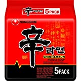 Nong Shim Ramyun Spicy Noodle Soup Korean Style Instant Noodles - Pack of 5