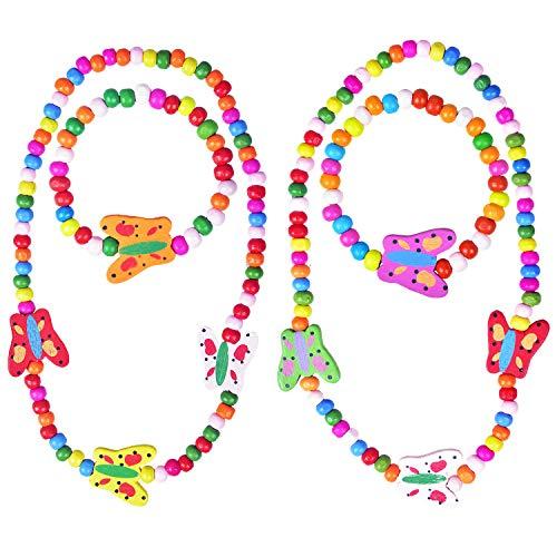 Larcenciel Kinder Schmuck Regenbogen Halskette Armband Kleine Prinzessin Stretch Holzperlen Schmuck-Set für Kinder Spielen vorgeben Dress Up (Butterfly)