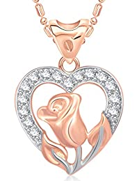 V. K. Jewels Flower In Heart Rose Gold And Rhodium Plated Alloy Pendant With Chain For Women
