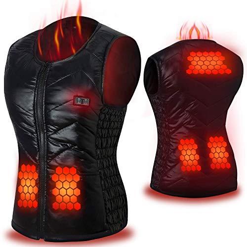Keymao gilet riscaldato elettrico con 3 file di temperatura regolabile, riacca riscaldata con inserto di ricarica usb, gilet invernale caldo lavabile per donna per attività all'aperto fredde