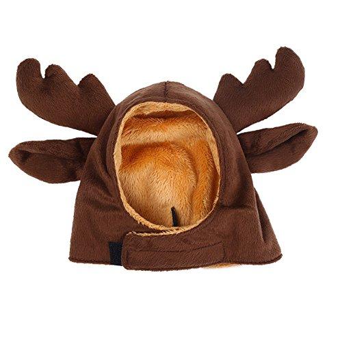Bello Luna Pet Elch Hut Mütze für Kleinen Hund und Katze, Haustier Geweih Hut Cosplay Kostüm Party Dress up-Brown (M)