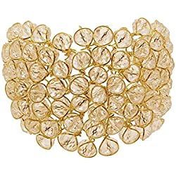 Gemshop Gold Tone Black Beads Cuff Bracelet For Women