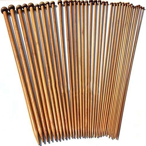 36 piezas/set carbonizado ganchillo bambú 2-10 mm