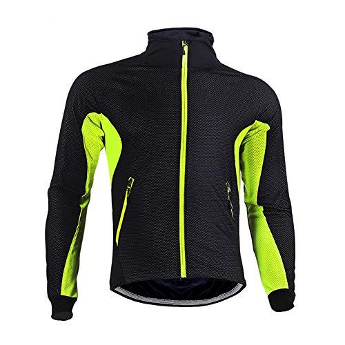 BeIM Herren Air Jacket Winddichte Fahrradjacke wasserdichte Fleece Warm Für Herbst und Winter, Grün XL