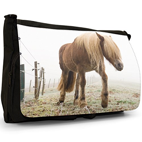 Pony e pony Shetland Grande borsa a tracolla Messenger Tela Nera, scuola/Borsa Per Laptop Pony Walking On Frozen Pasture