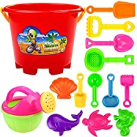KUSUOU 14 Pcs Beach Toy Set, Seaside Sand Castle Bucket Spade Shovel Rake Playset, Summer Outdoors Model Tool Kit For Kids And Children-Ids Fun Gifts(Color And Style Random)