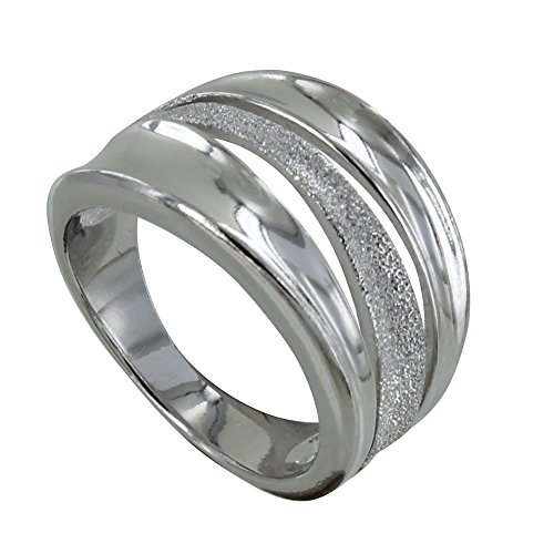 Les Poulettes Jewels - Rhodium Silver Ring Smooth and Diamond Wave
