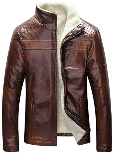 YYZYY Herren Winter Warm Klassik Schaffell Leder Pelz Fur Mäntel Jacken Lamm Wolle Futter Outerwear Mens Genuine Leather Coat Braun