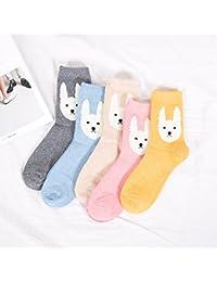 Gruesos calcetines cálidos_otoño invierno calcetines de lana calcetines calientes y los calcetines de lana cartoon multi-cartucho de color?5pares?En 17, cabeza de perro