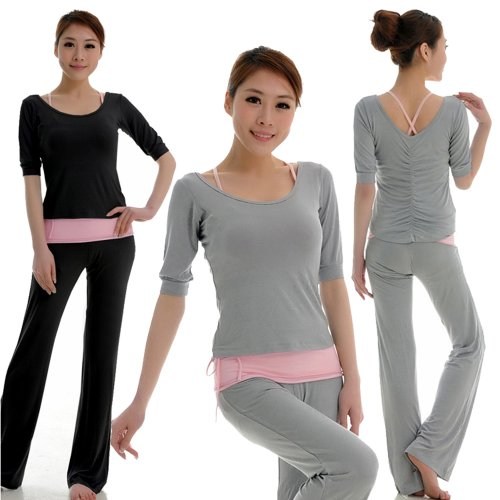 GENUINE 95% Modal Sports Clothes Soft Yoga Wear Set (3 Pieces) Women's - Gray Long Sleeve
