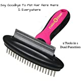 Deshedding Tool and Pet Grooming Dog Brush by Pukka Paws Unique 2 in 1 Blade with Shedding Comb  & Undercoat Dematting Rake Easily Reduces upto 90% Moulting Animal Hair in Minutes  Suitable For Cats & Dogs