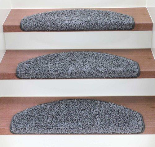 Kettelservice-Metzker Stufenmatten Treppenmatten Shaggy - Halbrund 10 Aktuelle Farben im SparSet 15 Stck. incl. Fleckentferner (Grau)