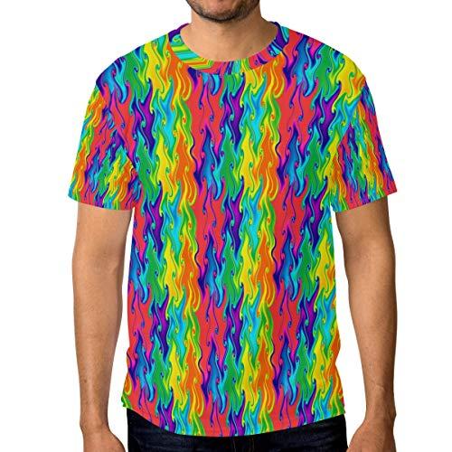 T-Shirt für Männer Jungen Psychedelic Rainbow Custom Short Sleeve -