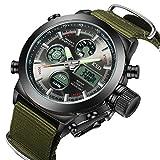 affute militare orologio da uomo sport orologio da polso con data allarme cronografo dual-time cinturino in tela
