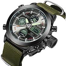 affute Militar Deportes Reloj para hombre reloj de pulsera con alarma cronógrafo fecha Dual-time Lienzo banda