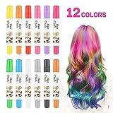 Pelo tiza [12unidades] Navidad regalo para niños niñas–temporal colorido pelo peluquería pelo tizas bolígrafos–funciona en todos los colores–gran regalo de cumpleaños