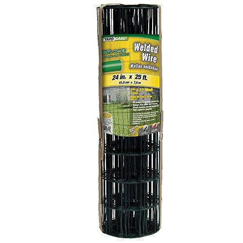 YardGard 308350B 5,1cm von 7,6cm Mesh, 2ft von 25Ft 16Gauge Junior PVC-Rolle beschichtet geschweißter Draht Zaun (dunkelgrün) (2' Wire)