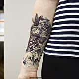1 x ARM TATTOO SCHWARZ bis DUNKEL BLAU Temporäres Tattoo zum Kleben Totenkopf mit Lotus Rosen Blumen für Arm Körper