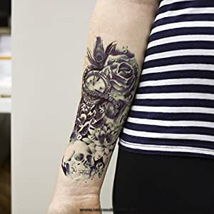 1 x arm tattoo schwarz bis dunkel blau tempor res tattoo zum kleben totenkopf mit lotus rosen. Black Bedroom Furniture Sets. Home Design Ideas