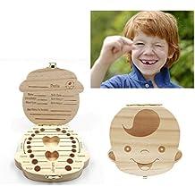 JZK Scatola porta dentini da latte legno per bambino ragazzo, regalo ricordo nascita battesimo compleanno bimbo, scatolina scatoletta scatola dentini porta denti latte bambini