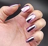YUNAI Metallisch Falsche Fingernägel Lila Rot Spiegel Shinning Platz Mittlere Größe Falsche Nagelspitzen