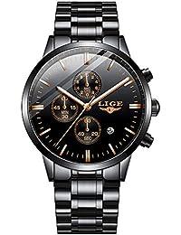 Hombres Relojes,LIGE Acero Inoxidable Resistente al Agua Deportivo Analógico de Cuarzo Relojes Cronógrafo Calendario