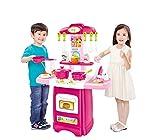 Kinderküche COOK FUN HM824543 Pink, Küchenspielzeug, Spielküche, Küche mit Zubehör, Spielzeugküche, Kinderspielküche (PINK, KLEIN)