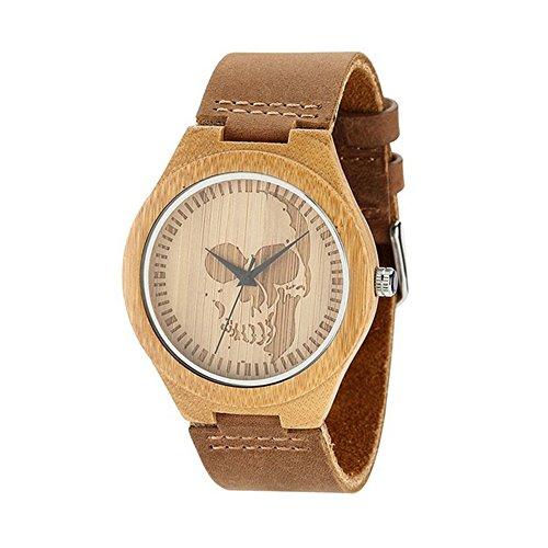 saibang Hombres del dial de reloj de pulsera, diseño de calavera Unisex de moda reloj de pulsera con correa de piel de vaca Natural de madera de bambú