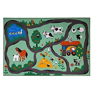 andiamo Straßenteppich Farm, Kinderteppich Bauernhof, schadstoffgeprüft, Farbe:Bunt, Größe:133 x 190 cm
