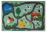 andiamo Straßenteppich Farm, Kinderteppich Bauernhof, schadstoffgeprüft, Farbe:Bunt, Größe:80 x 150 cm