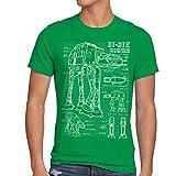 style3 AT-AT Cianotipo Camiseta para hombre T-Shirt fotocalco azul andador, Talla:XL;Color:Verde