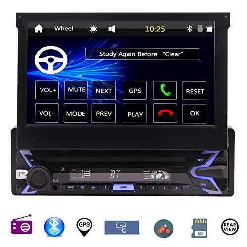 EINCAR 7-Zoll-Flip-Out HD TFT Touch Screen einzelnes Din Autoradio mit Bluetooth AUX/USB/SD Auto AM FM Radio Receiver MP3-Player GPS-Navigation mit Rückfahrkamera + Fernbedienung