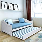 tinkertonk 3 ft White Solid Wood Single Day bed Frame Underbed Trundle Guest