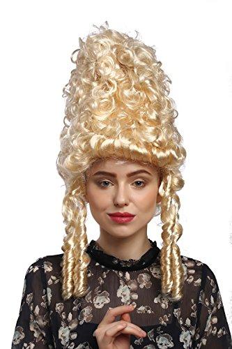 88 Perücke Damen Karneval Fasching Historisch Barock blond lockig Marie Antoinette Pompadour Turmfrisur Beehive ()