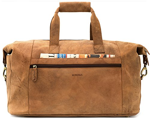 LEABAGS Dubai Reisetasche aus echtem Büffel-Leder im Vintage Look - Muskat Braun