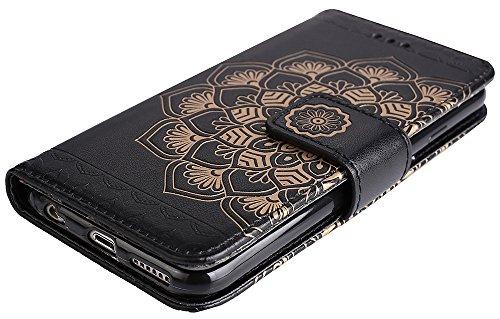 Nnopbeclik® Apple Iphone 6s Plus Hülle Silikon, Flip PU Leder Case Für Apple Iphone 6 Plus, 3D Halbe Blume Design Handy Hülle Hochwertige Qualität Tasche Und Weich Schwarz TPU Stoßkasten Anti-Scratch  Schwarz