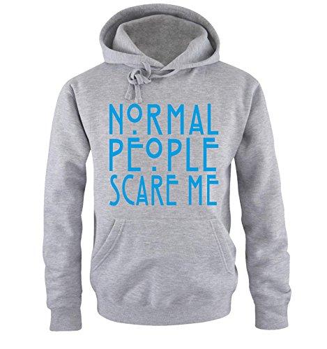 Comedy Shirts - Normal People Scare Me - Uomo Hoodie cappuccio sweater - taglia S-XXL vari colori grigio / blu