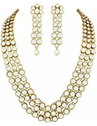 karatcart Gold-plated and pearl Necklace Set for Women & Girls (Gold)