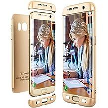 CE-Link Funda para Samsung Galaxy S7 Edge Rigida 360 Grados Integral, Carcasa S7 Edge Silicona Snap On Diseño Antigolpes Choque Absorción, Samsung S7 Edge Case Bumper 3 en 1 Estructura - Oro