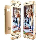 CE-Link für Samsung Galaxy S7 Edge Hülle Hardcase 3 in 1 Ultra Dünn 360 Full Body Schutz Schutzhülle Anti-Kratzer Elegant Stoßfest Hart PC Skin Rückdeckel Glatte Rückseite Bumper Handyhülle - Gold