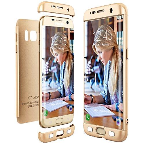 CE-Link Cover per Samsung Galaxy S7 Edge 360 Gradi Full Body Protezione, Custodia S7 Edge Silicone 3 in 1 Antishock e Antiurto, Samsung S7 Edge Case - Oro