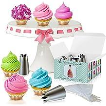 Cupcake decorazione kit–The Perfect cupcake by LOVE2BAKE–X-Large punte in acciaio INOX & sac a poche,