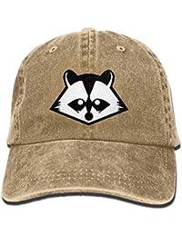 Zcfhike Sombrero Designis de Gorra de béisbol de Mezclilla de algodón  Desgastado Cabeza de Mapache Negro cdc0a195485