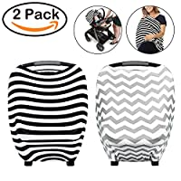 BeYumi Nursing Breastfeeding Cover Scarf - Baby Car Seat Canopy, Shopping Cart, Stroller, Carseat Covers for Girls and Boys - Best Multi-Use Infinity Stretchy Shawl (2 Pack)