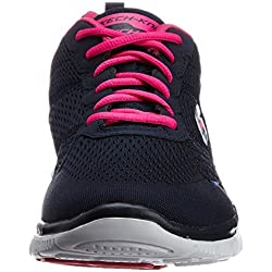 Skechers Womens Flex Appeal Obvious Choice,Navy/Pink,US 8 W